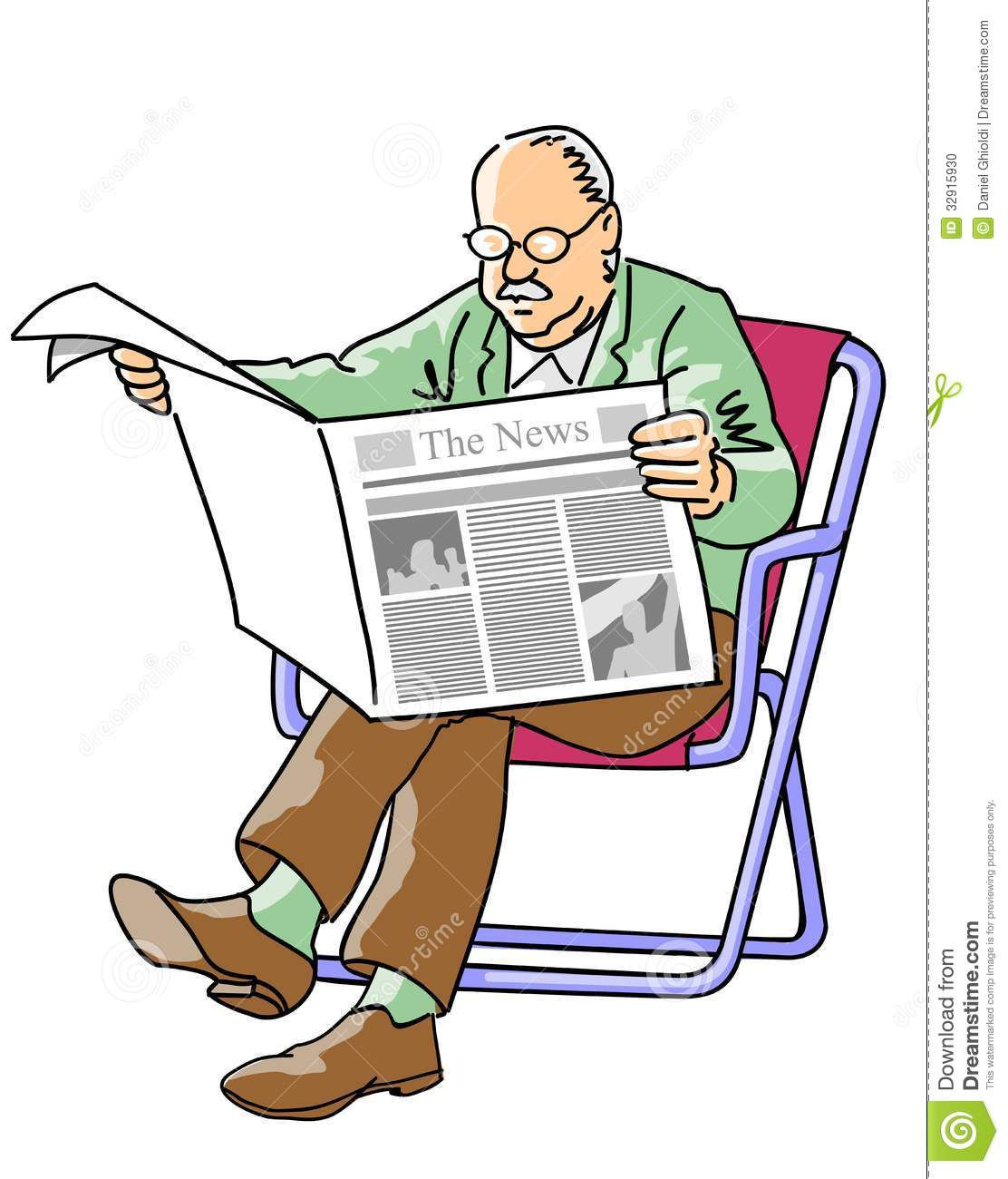Grandfather Reading The Newspaper Stock Illustration
