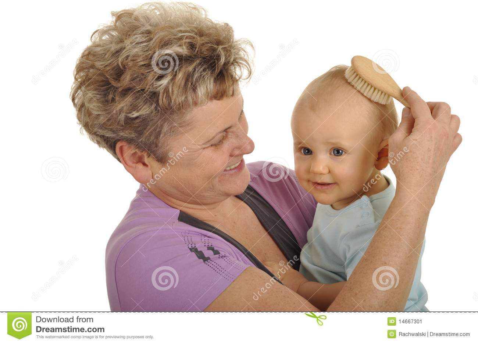 Grandma Combing Grandchild Stock Image Image Of Nursing