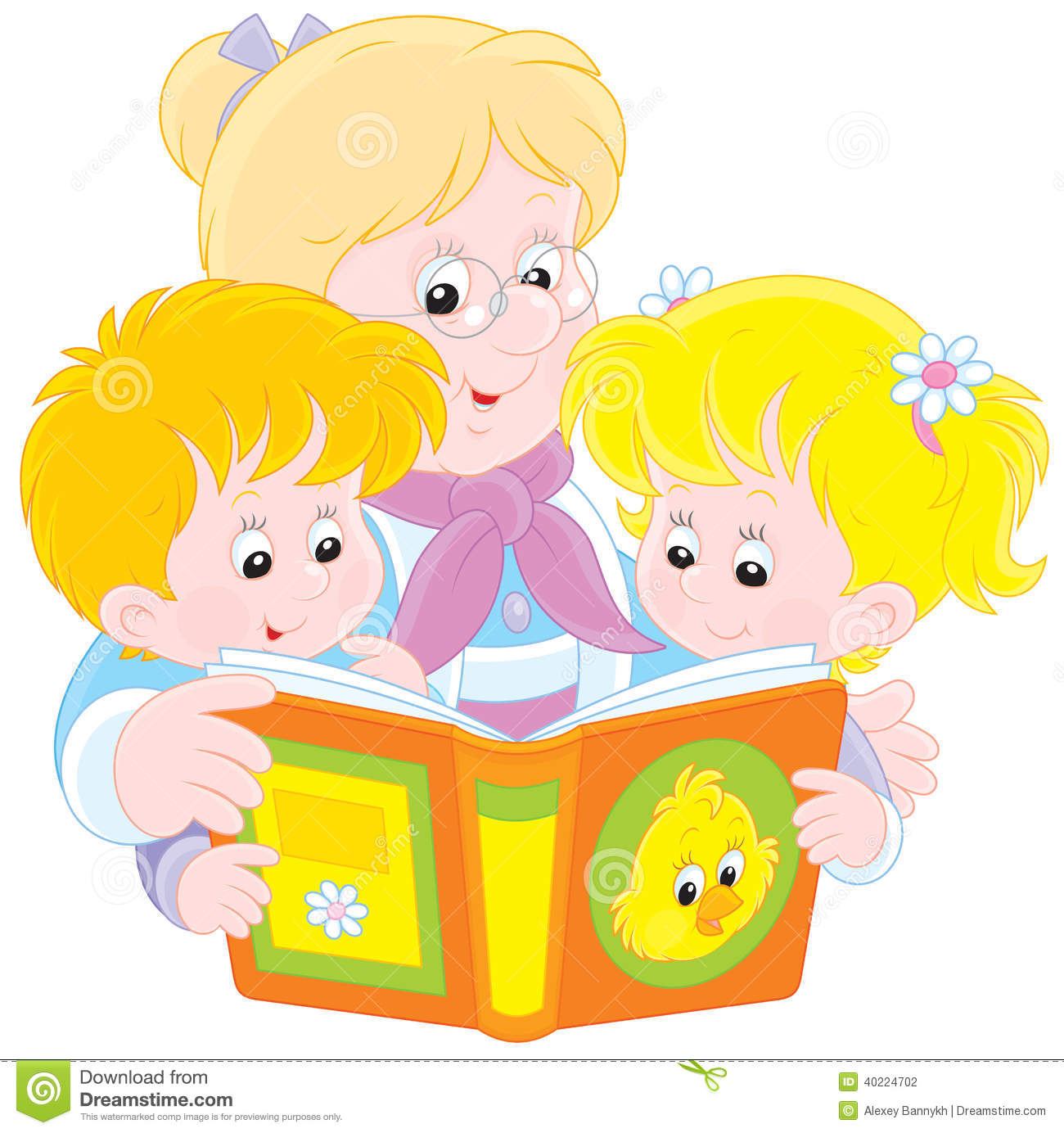 Grandma And Grandchildren Read Stock Vector
