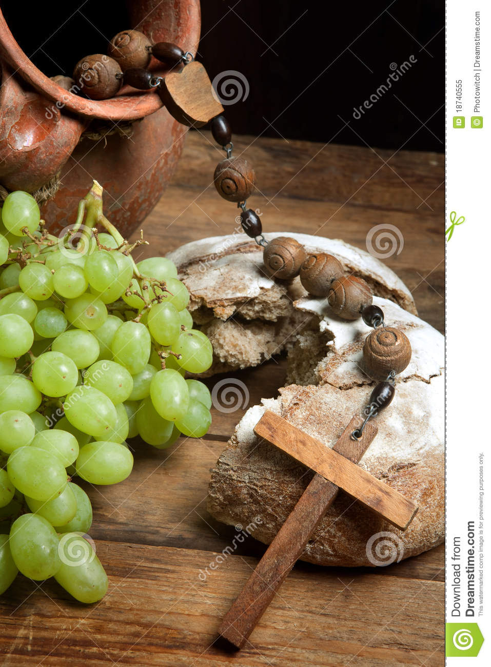 Grapes Wine And Holy Bread Stock Image Image Of Loaves