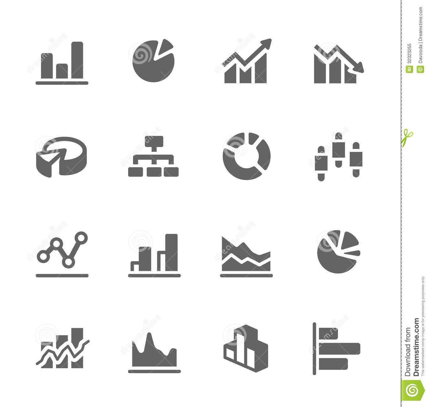 Graph And Diagram Icon Set Royalty Free Stock Photo