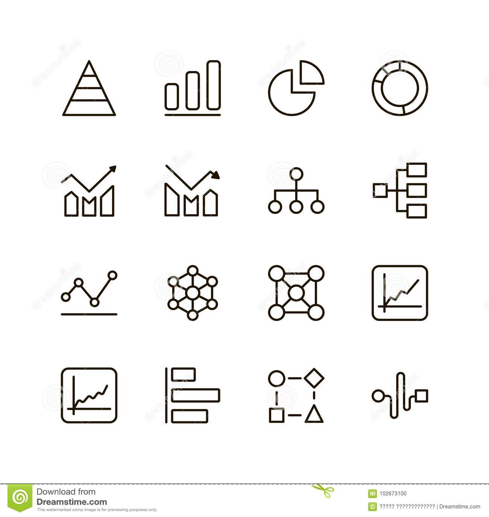 Graph Line Icon Stock Vector Illustration Of Design