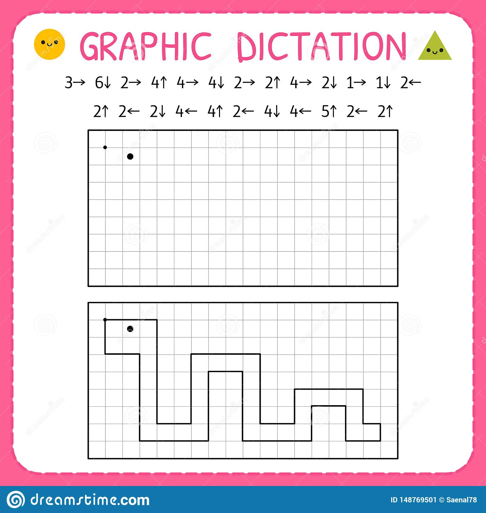 Graphic Dictation Snake Kindergarten Educational Game