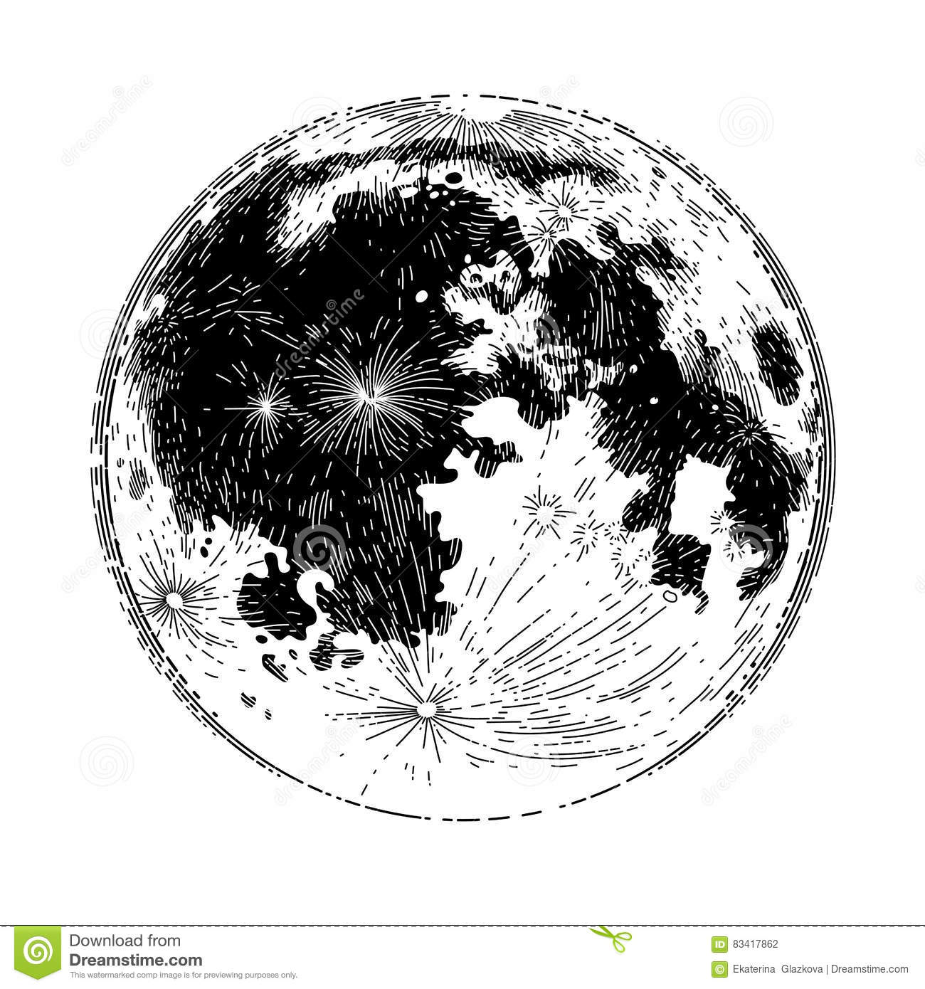 Graphic Full Moon Stock Vector Illustration Of Lunar
