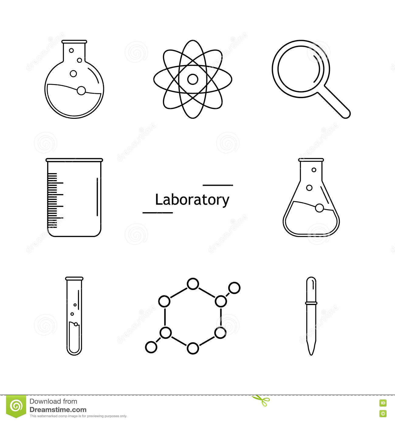 Graphic Set Science And Chemical Objects On White Background Ve Stock Vector