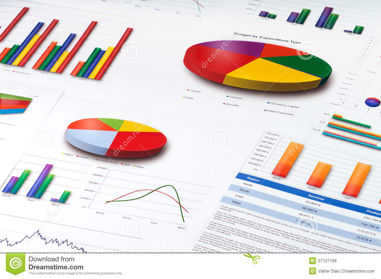 Graphs And Pie Line And Bar Charts Report Stock Photo