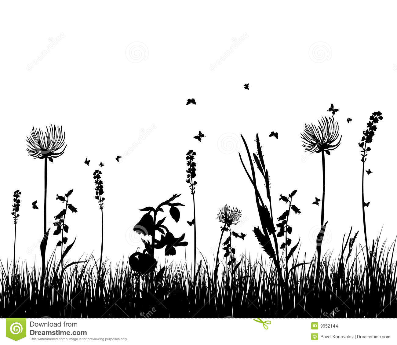 Grass Silhouette Stock Vector Illustration Of Field