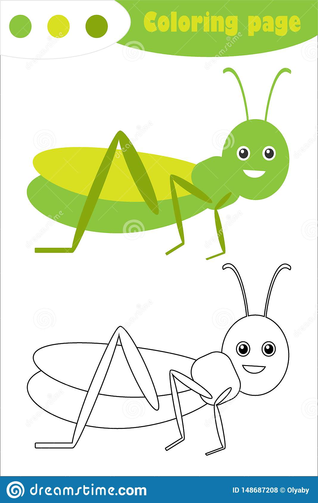 Grasshopper In Cartoon Style Coloring Page Spring