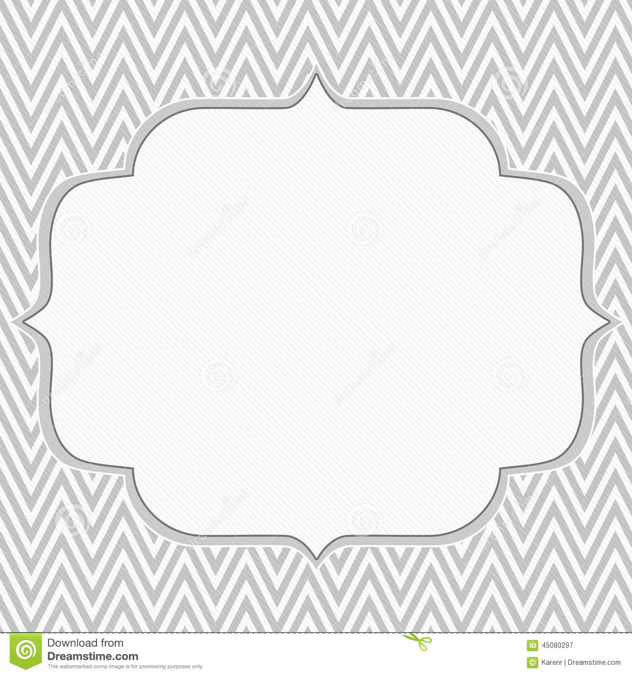 Gray And White Chevron Zigzag Frame Background Stock