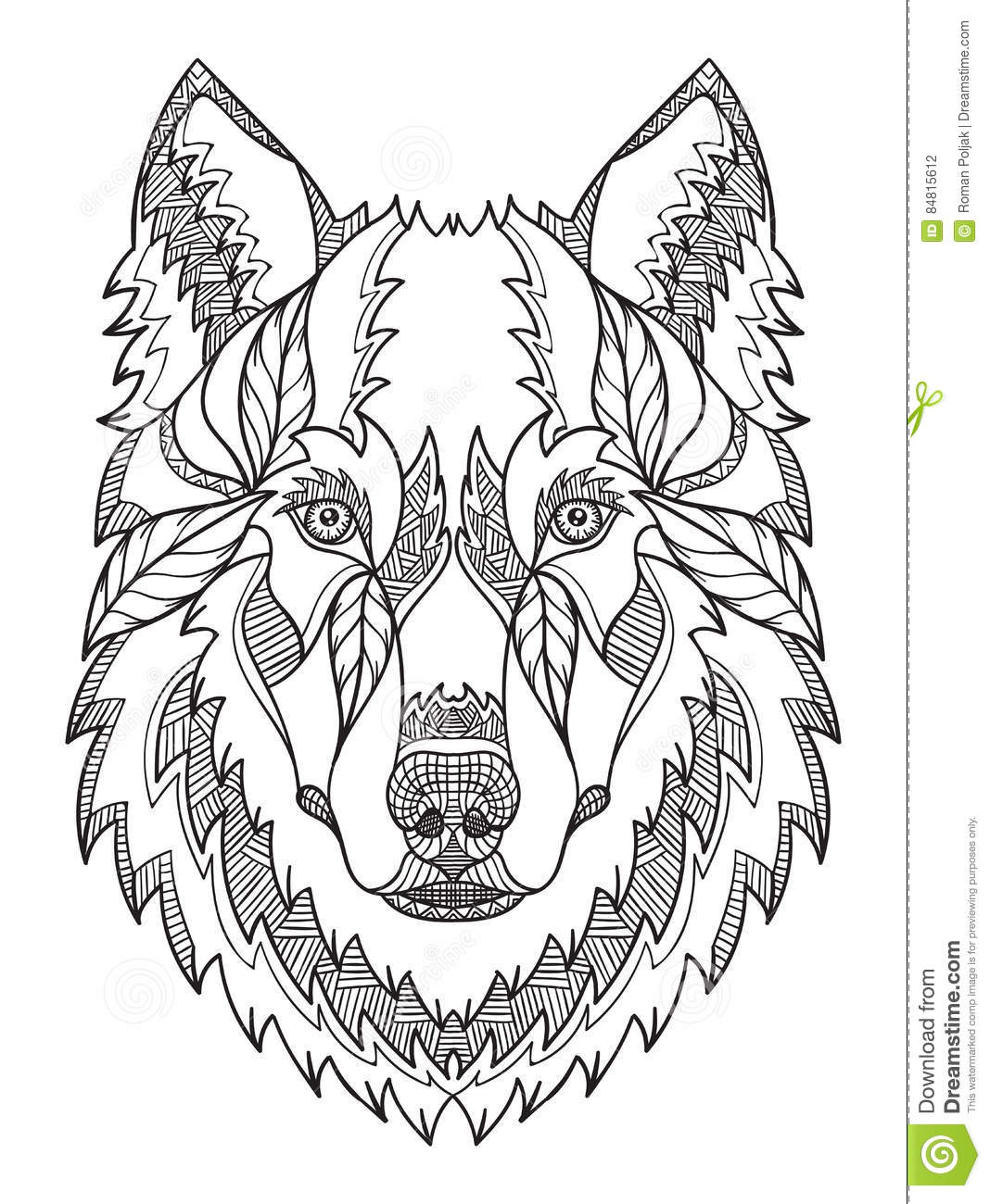 Gray Wolf Head Zentangle Doodle Stylized Vector