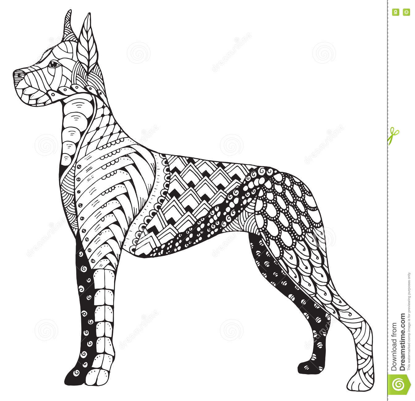 Great Dane Dog Zentangle Stylized Freehand Pencil Hand