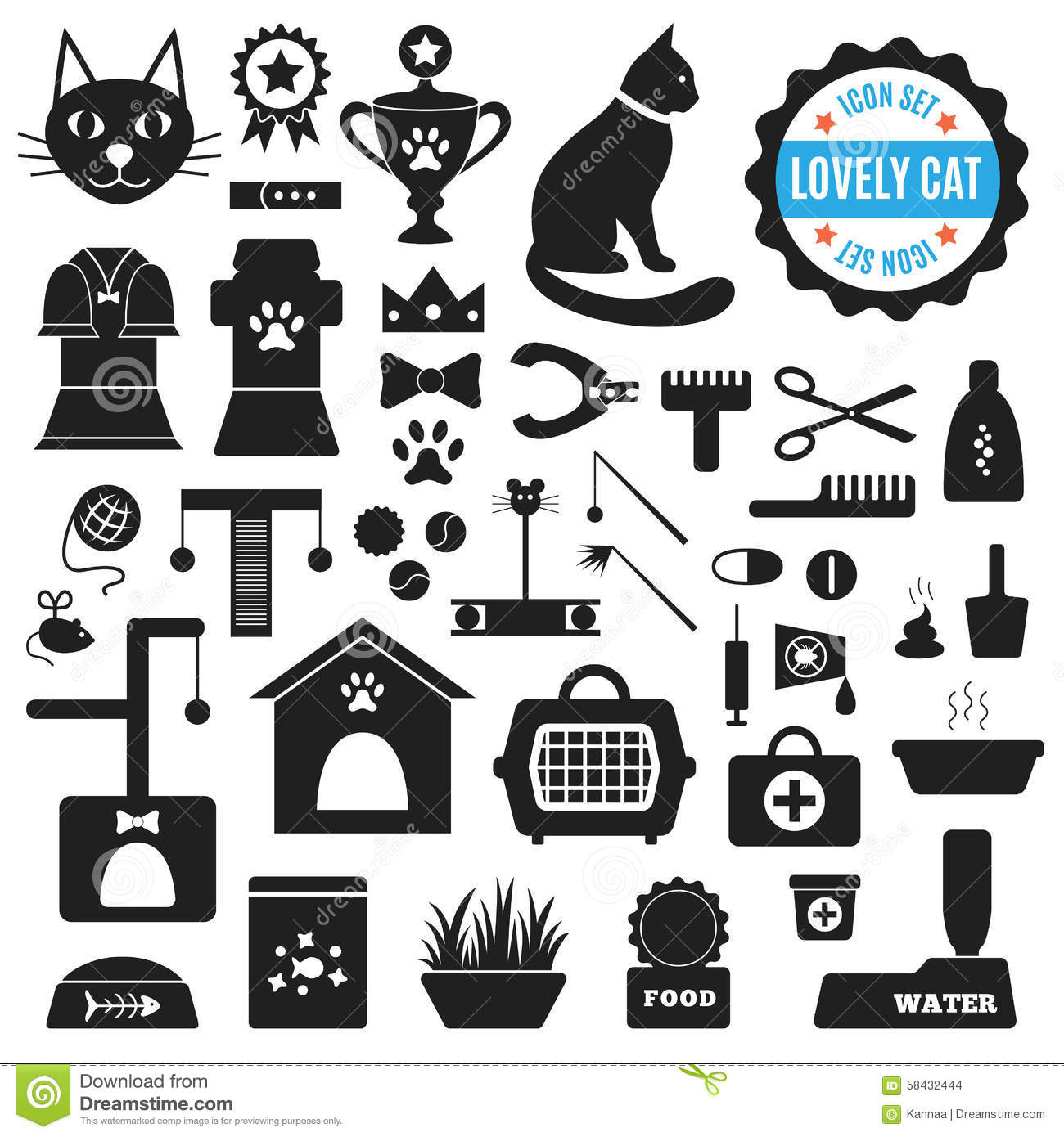 Great Set Of Icons About Lovely Cat Vector Stock Vector