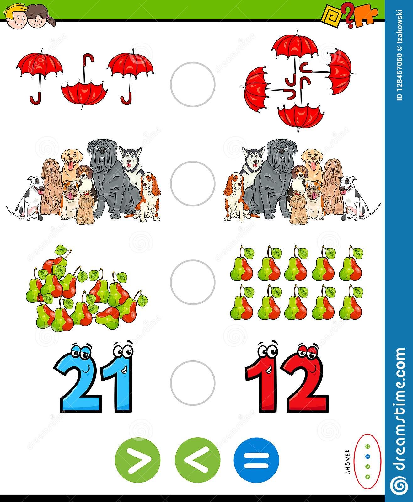 Greater Less Or Equal Educational Puzzle For Kids Stock