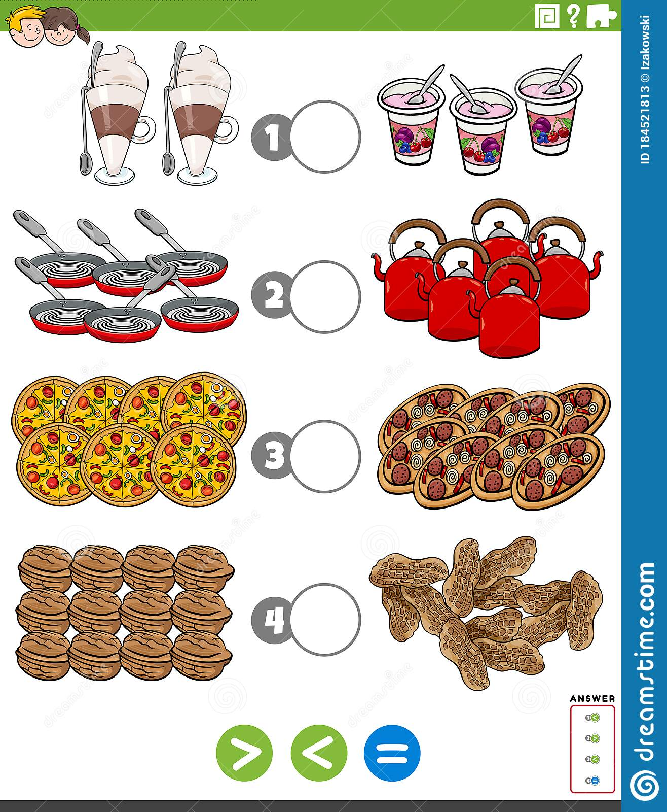 Greater Less Or Equal Task With Food Objects Stock Vector