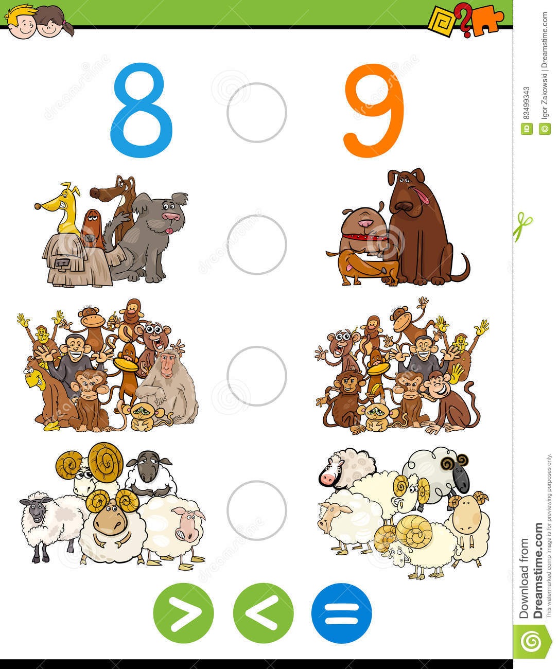 Greater Less Or Equal Worksheet Stock Vector