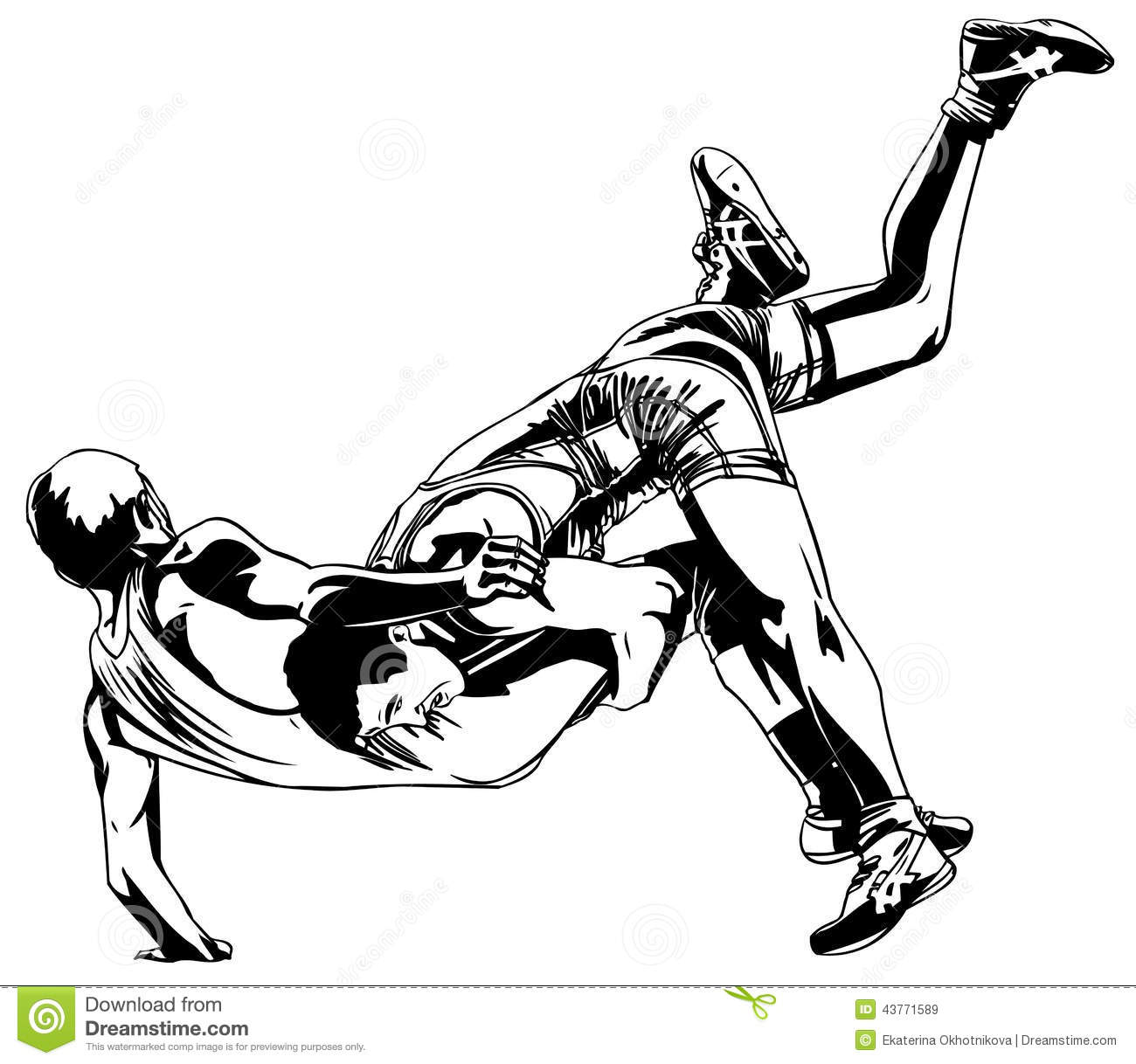 Sparring Of Two Sambo Fighters In Red And Blue Cartoon