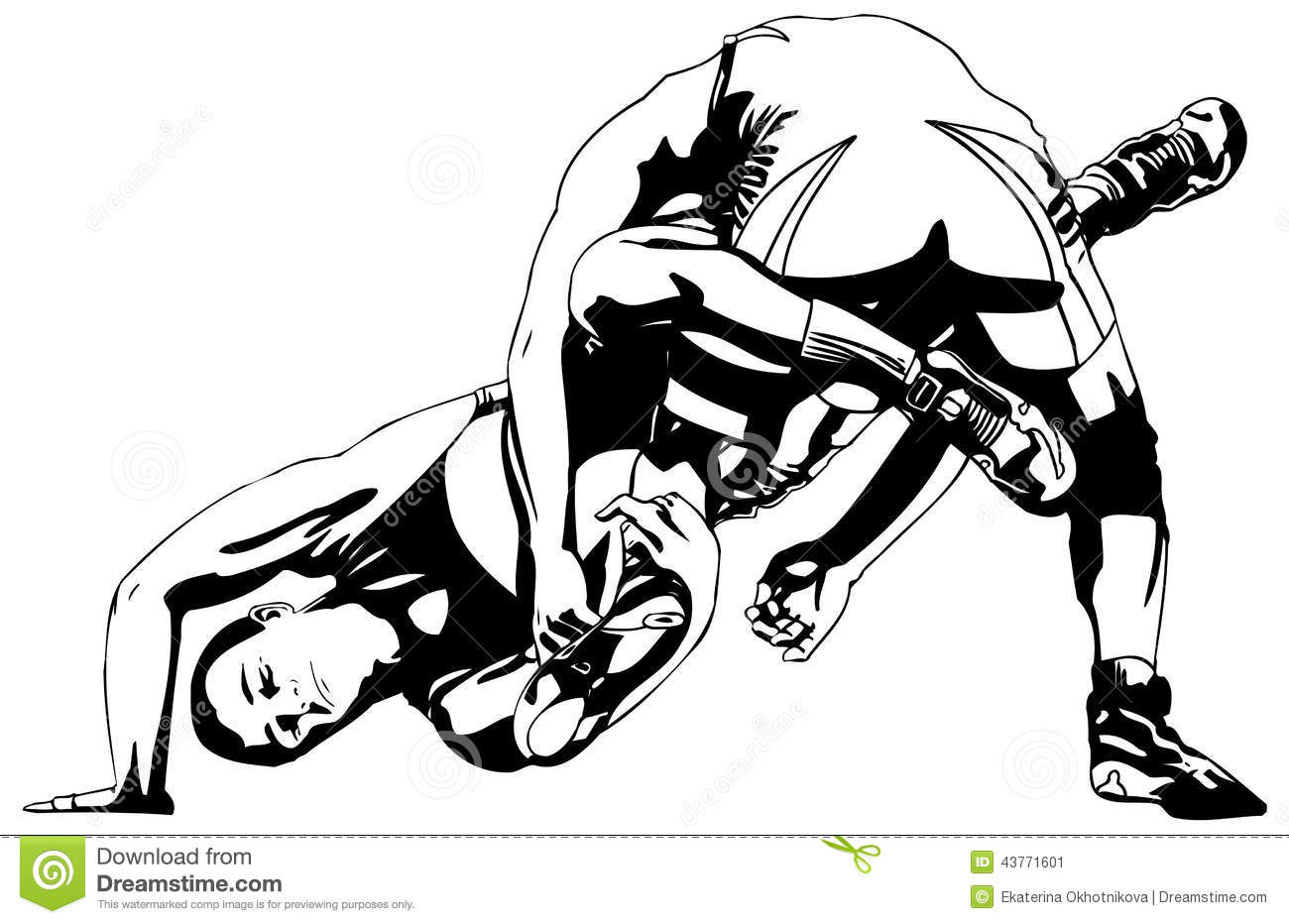 Greco Roman Wrestling Stock Vector Illustration Of Line