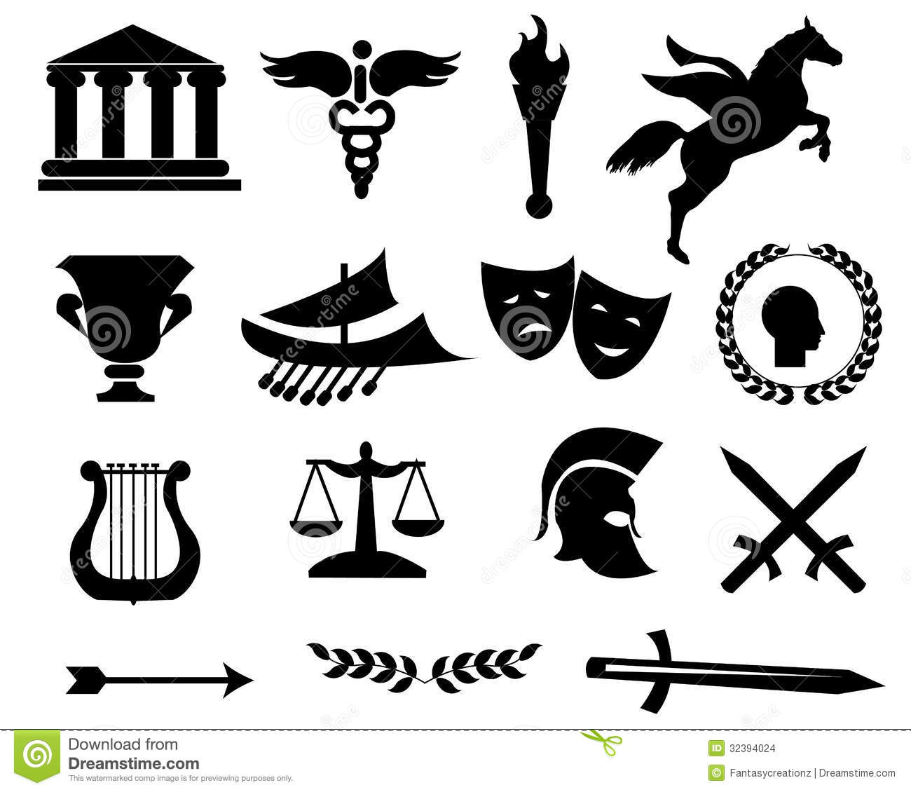 Greece Black Icons Stock Vector Illustration Of House