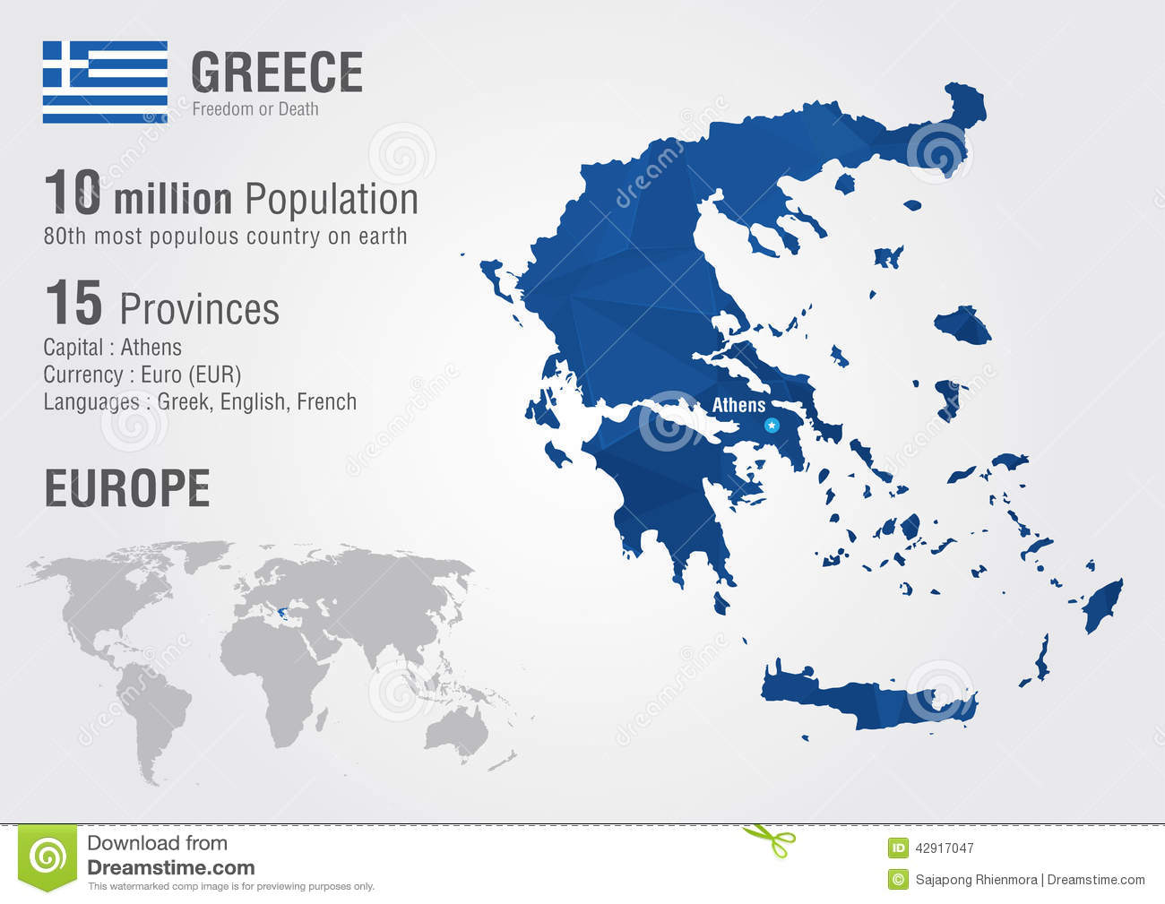 Greece World Map With A Pixel Diamond Texture Stock