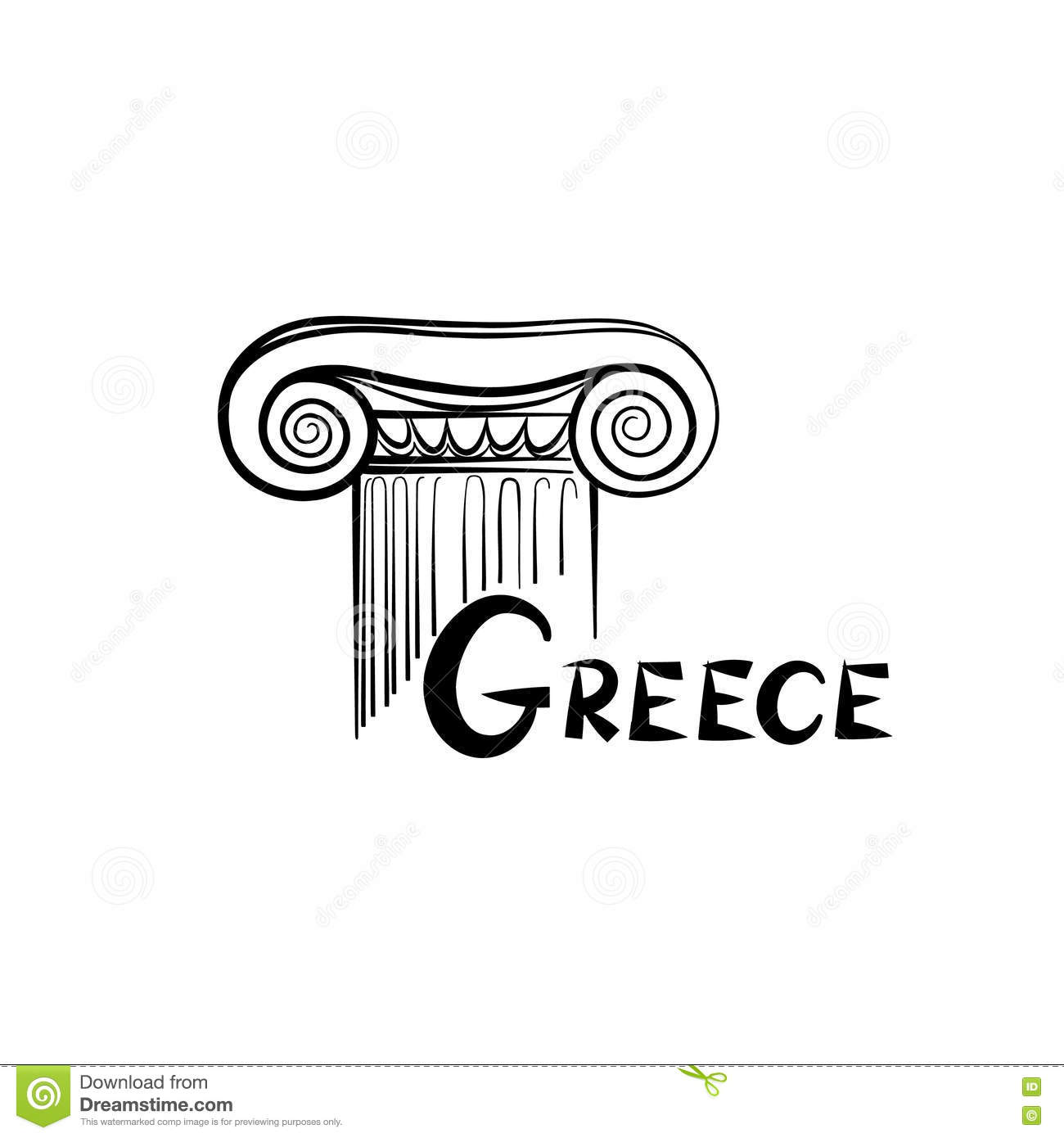 Greek Architectural Symbol Ionic Column Travel Greece