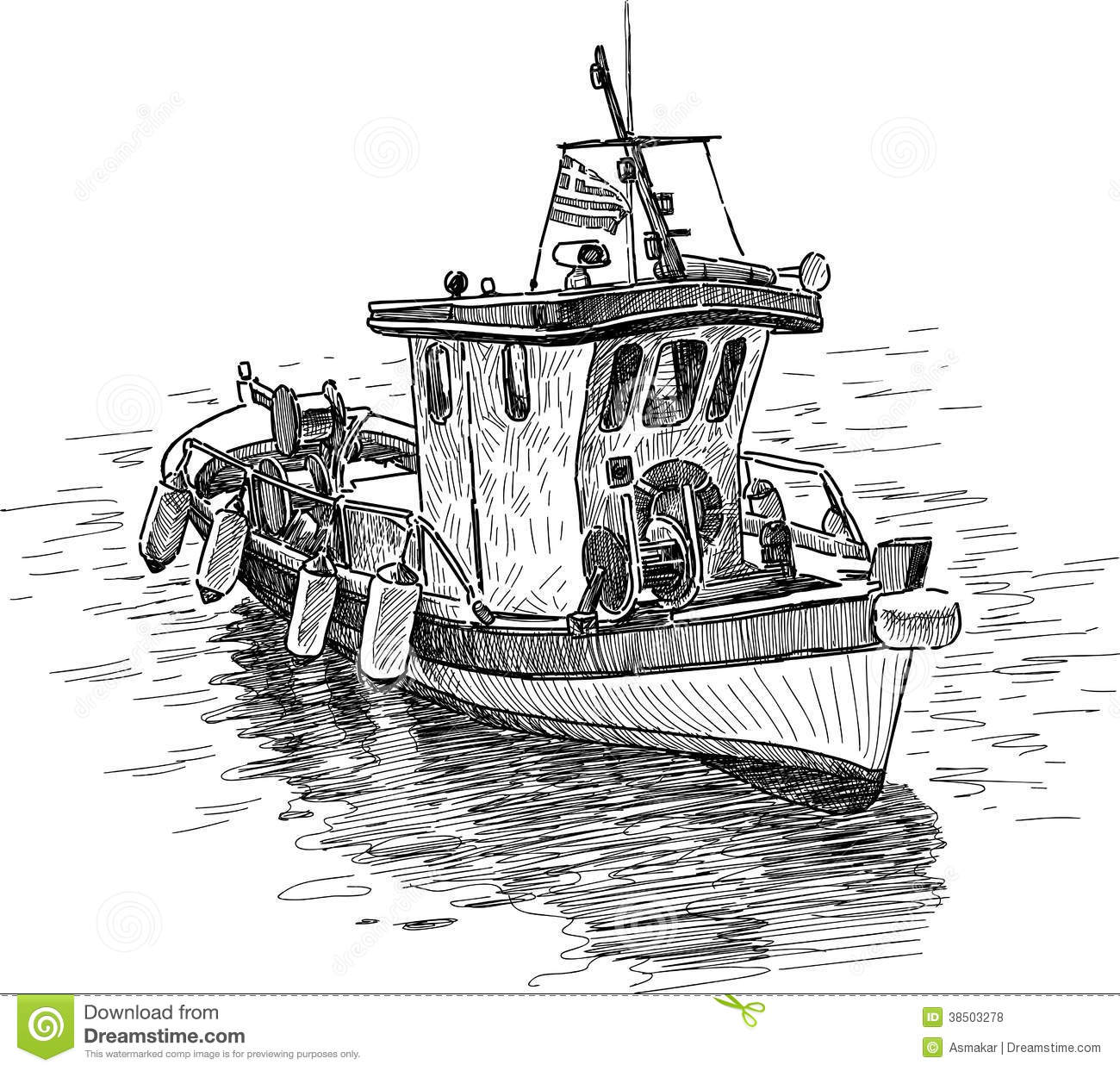 Greek Fishing Boat Stock Vector Illustration Of Marine