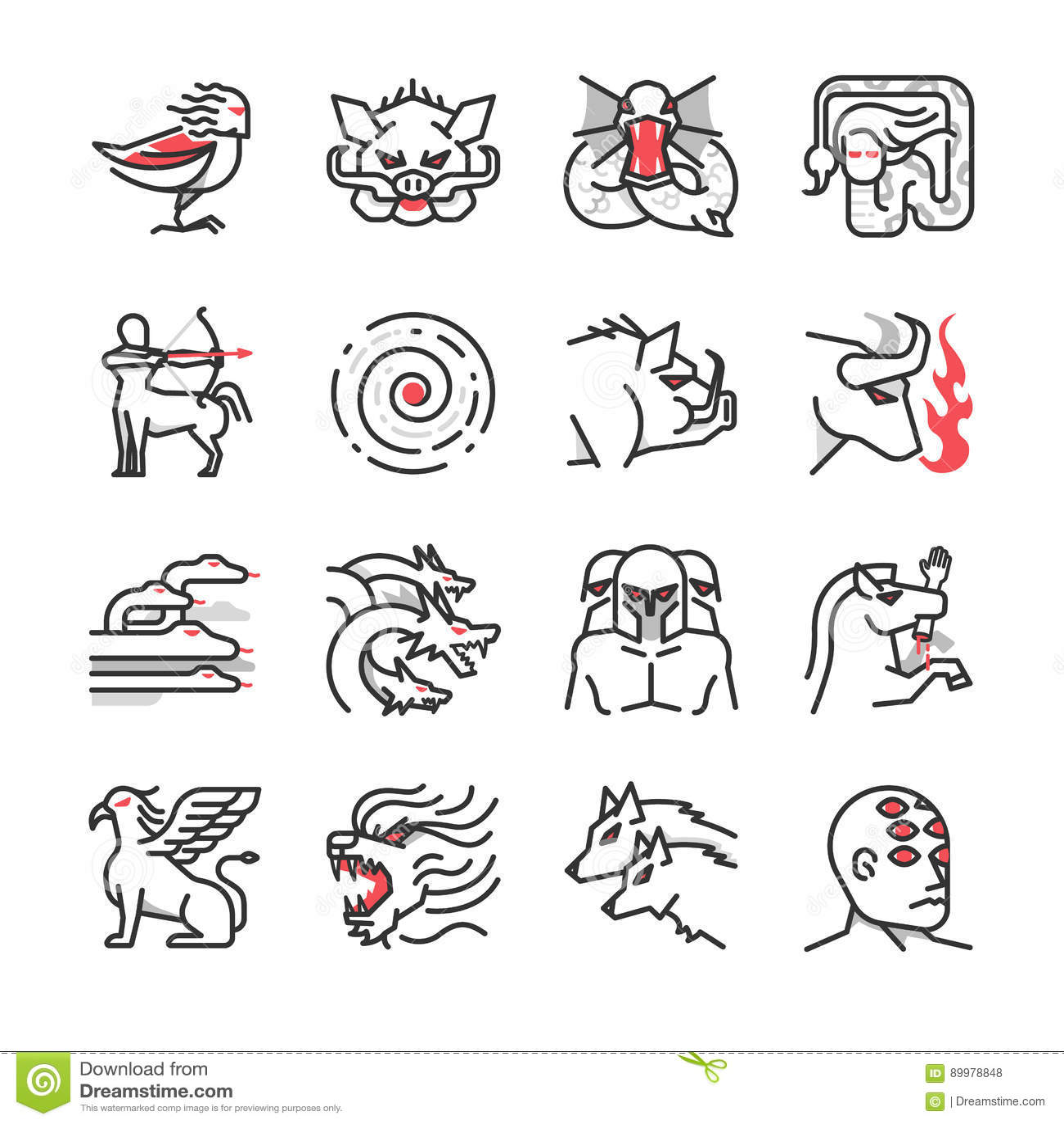 Greek Monster Mythology Icon 1 Stock Vector