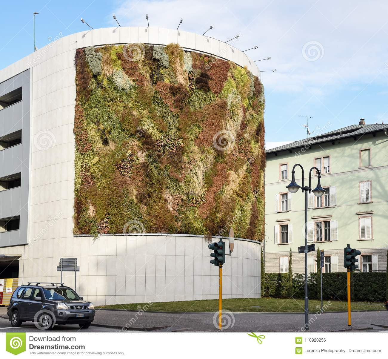 Green Building With Plants Growing On The Facade Ecology