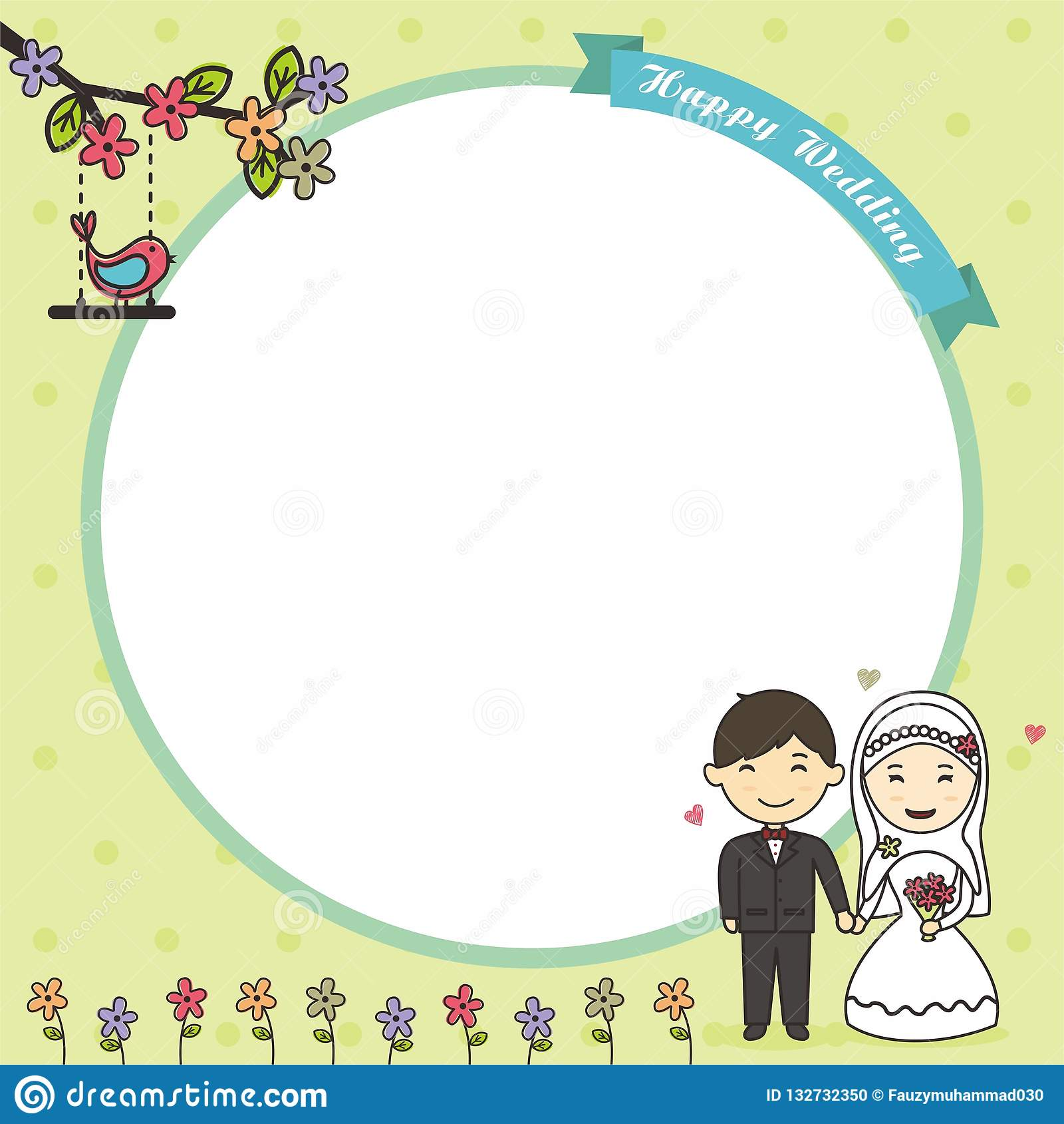 https www dreamstime com green card frame background couple cartoon blank muslim bride groom image132732350