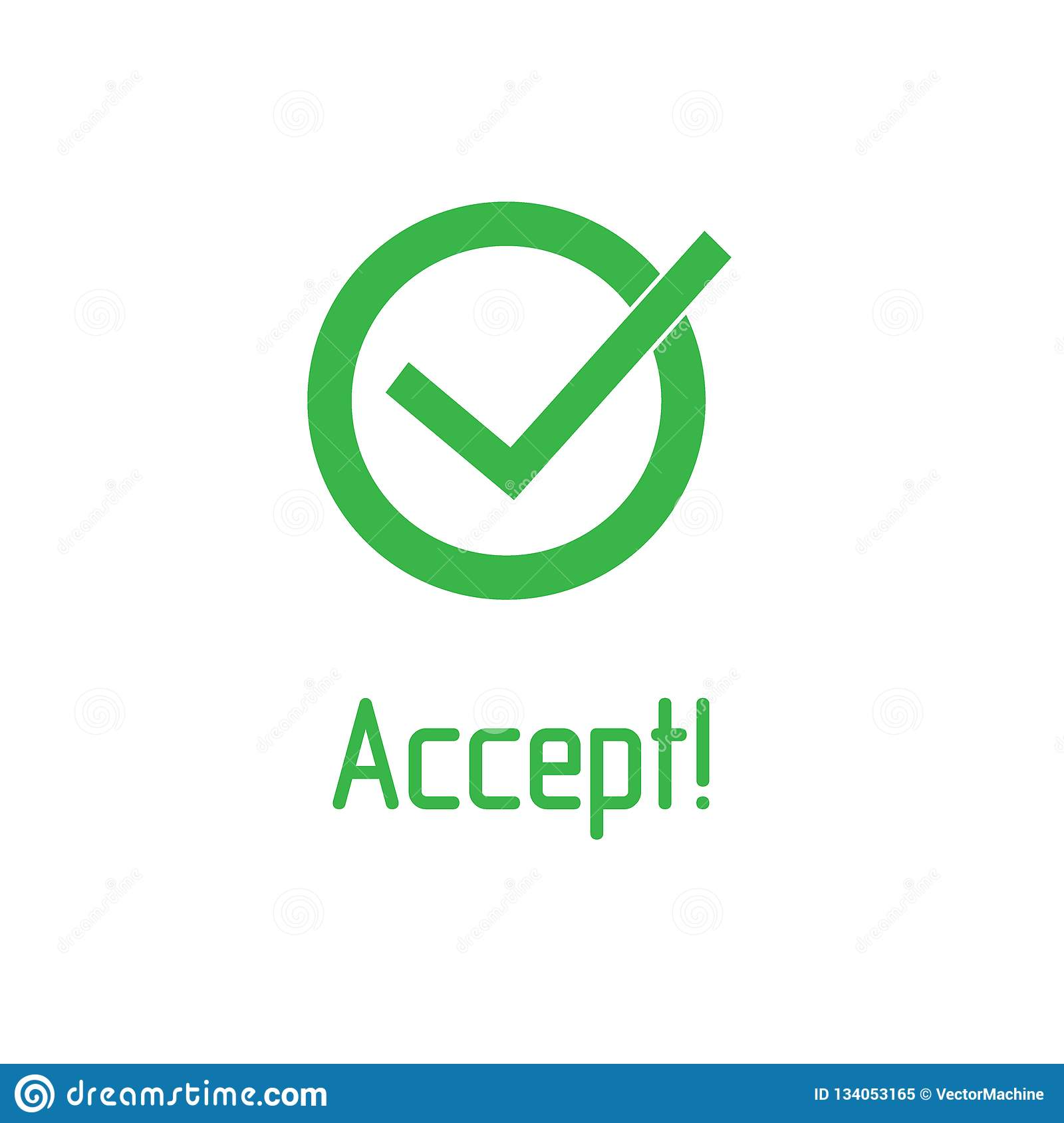 Green Check Mark With Word Accept Icon Tick Symbol In