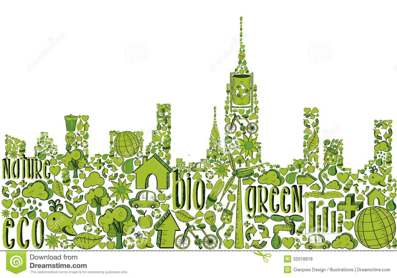 green city silhouette with environmental icons royalty free stock