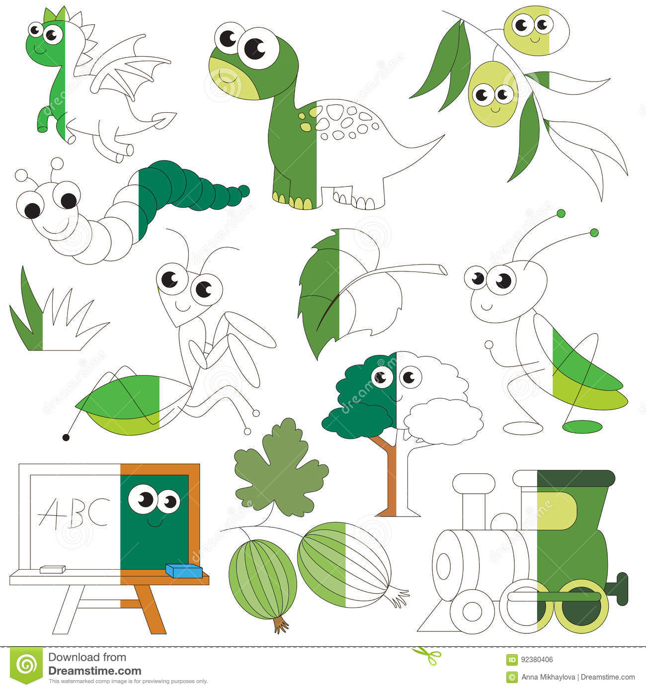 Green Color Objects The Big Kid Game To Be Colored By Example Half Stock Vector