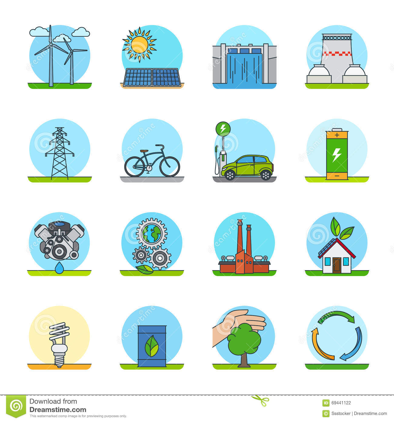 Green Energy Color Line Icons Stock Vector