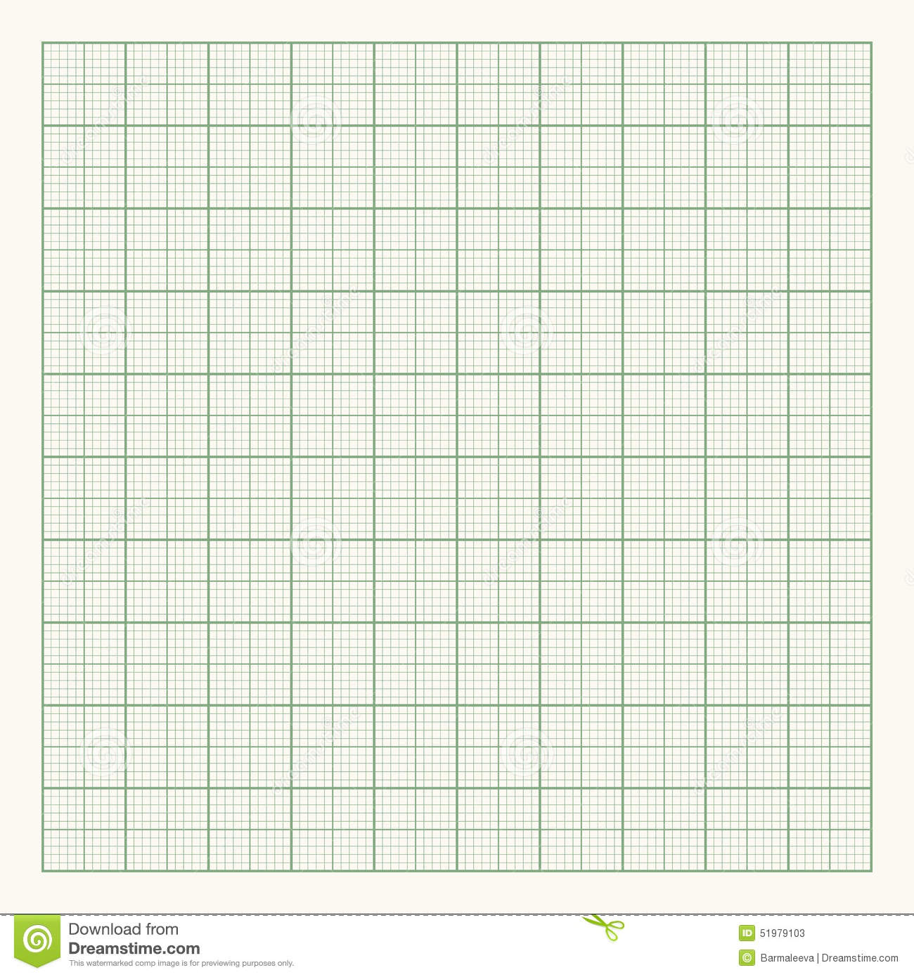 Green Graph Paper On Light Background Stock Vector