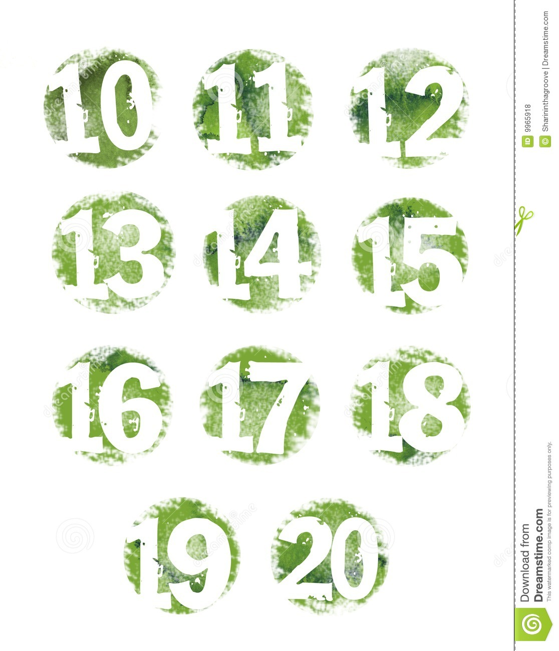 Green Grunge Textured Number Set 10 20 Royalty Free Stock