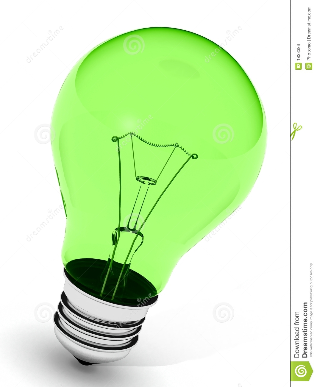 Green Incandescent Light Bulb Royalty Free Stock Image