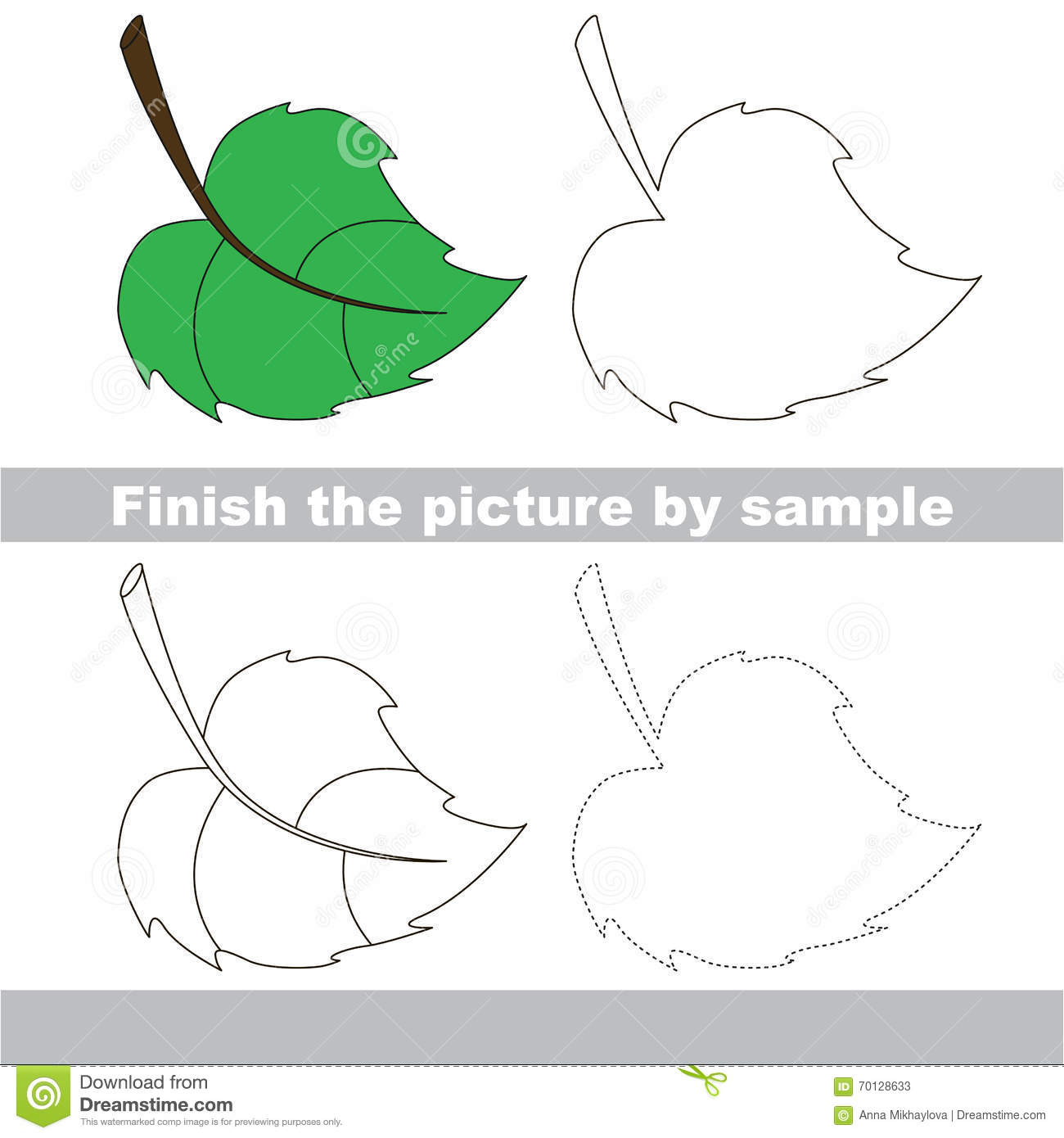 Green Leaf Drawing Worksheet Stock Vector
