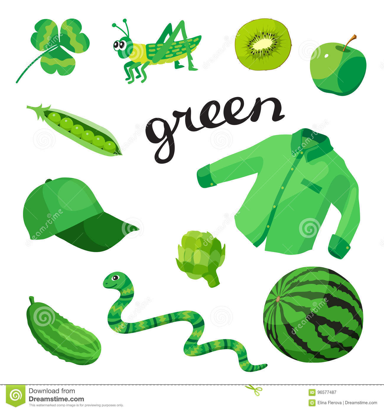 Green Learn The Color Education Set Illustration Of