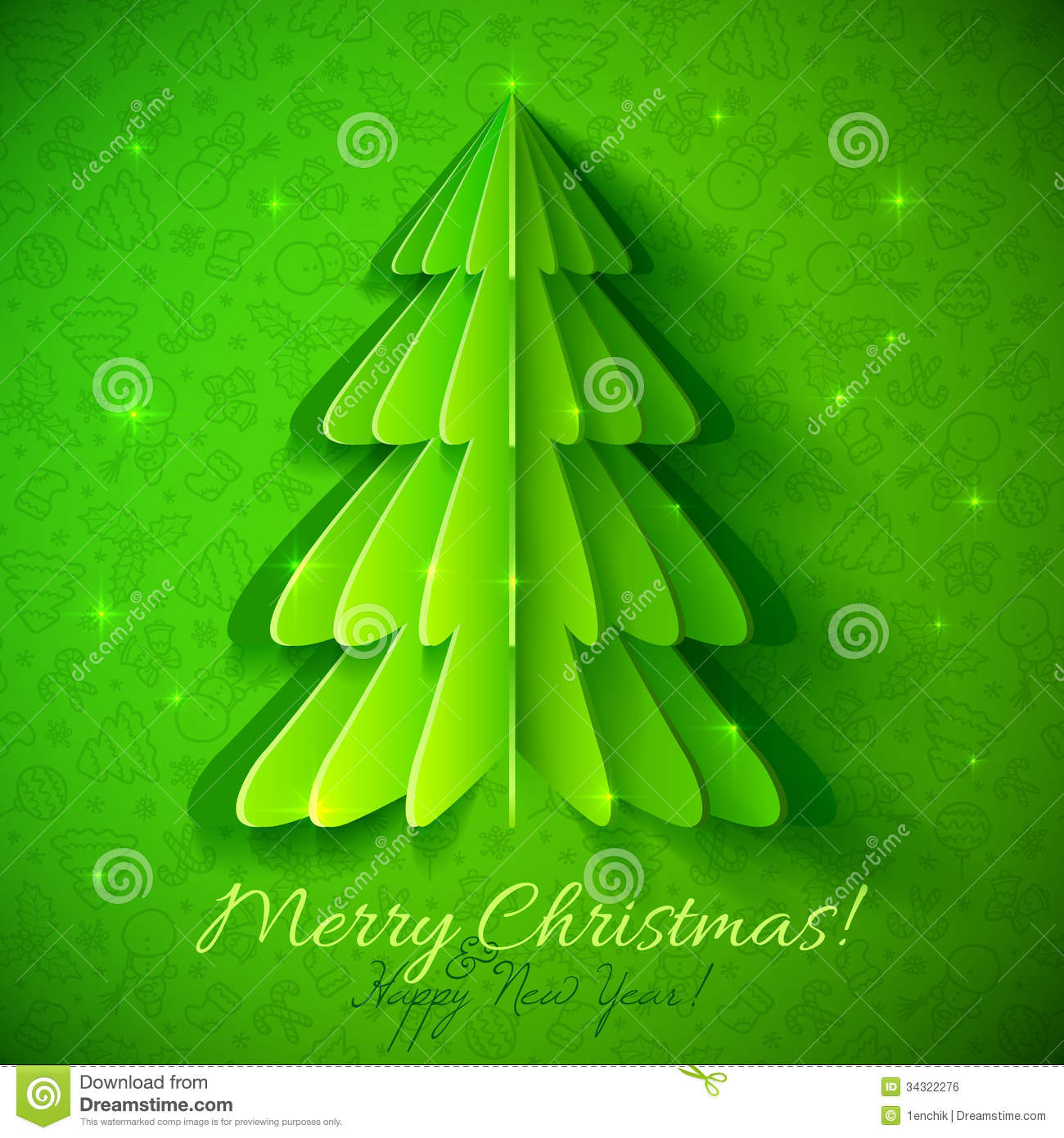 Green Origami Christmas Tree Greeting Card Royalty Free