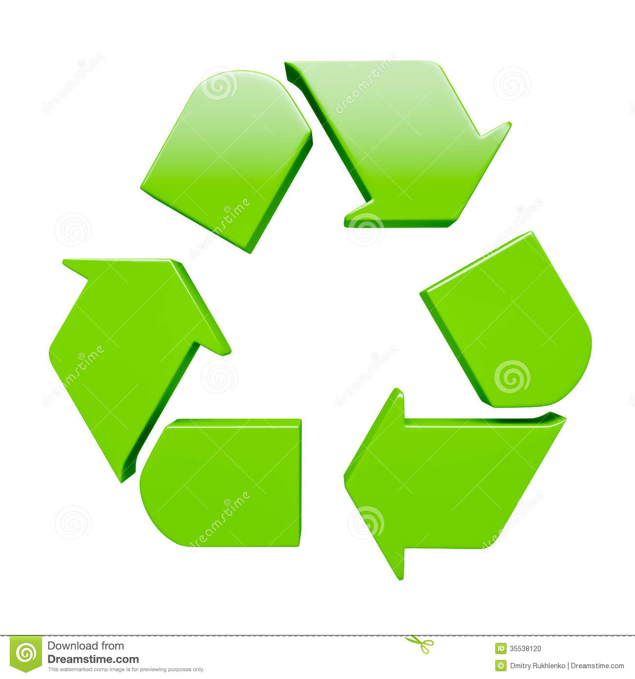 Green Recycling Symbol Isolated On White Stock Photo