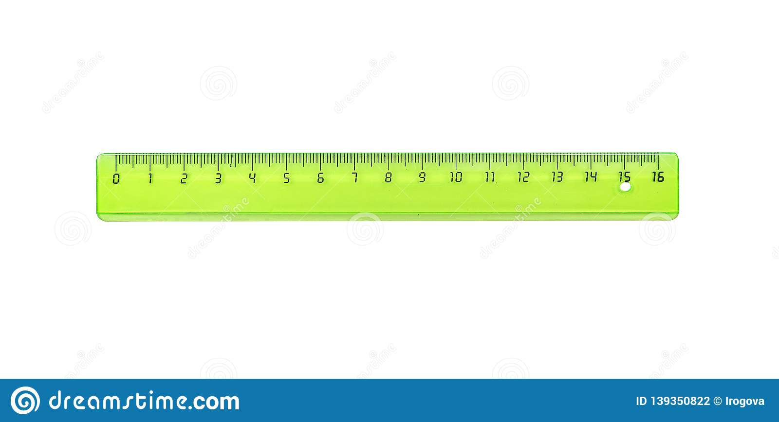 The Green Ruler Is Plastic For Measuring Centimeters Stock