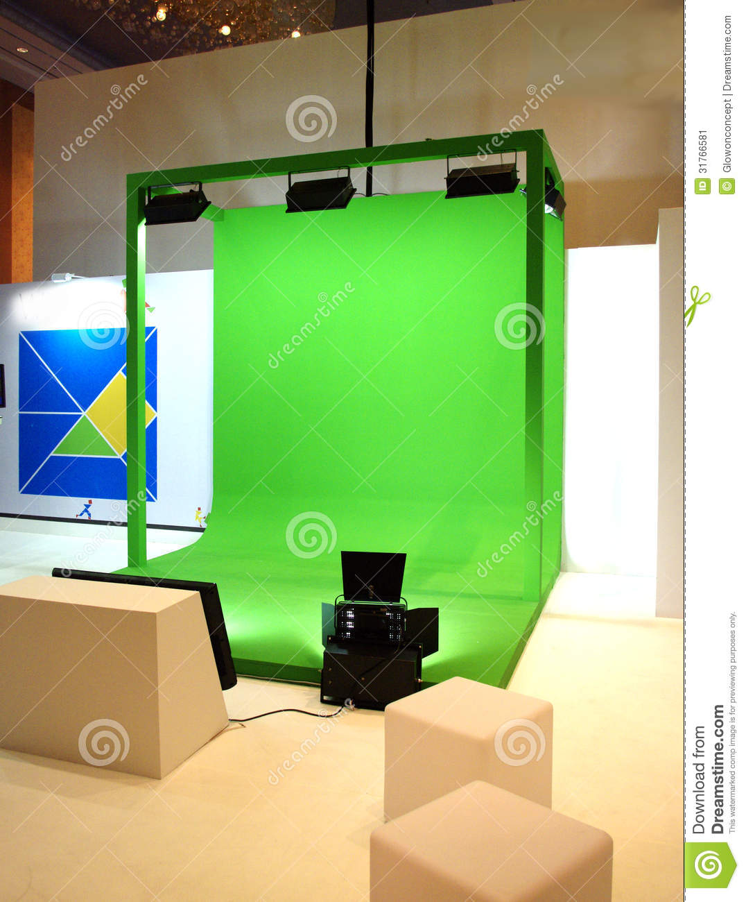 Green Screen Set For Movie Shooting Stock Image Image