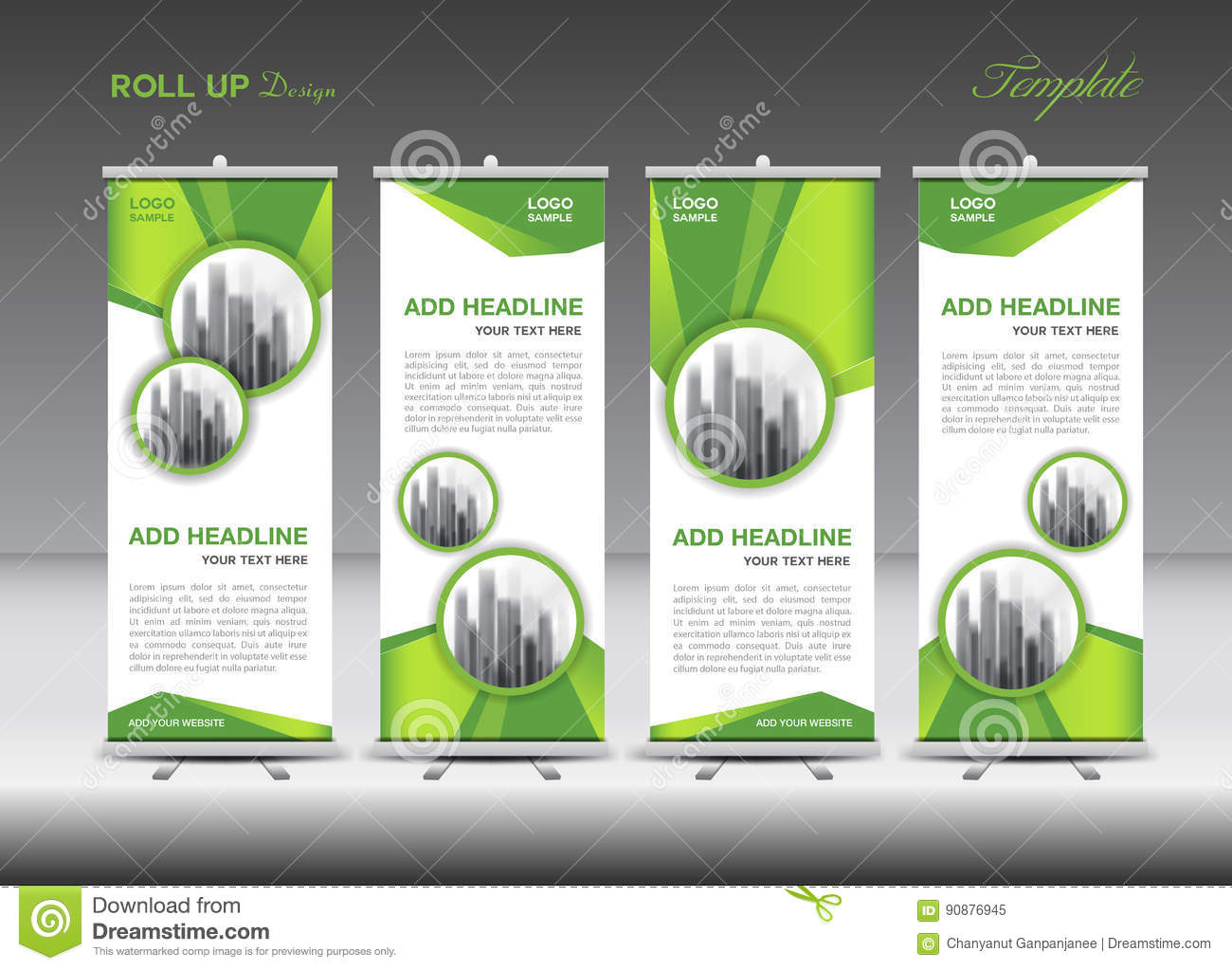 Green And White Roll Up Banner Template Design Stock Vector Illustration Of Geometric