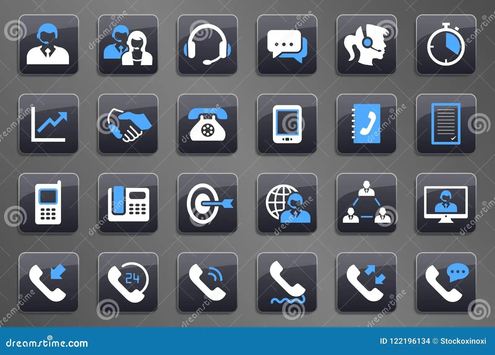 24 Grey Call Center Communication Button Symboler Vektor