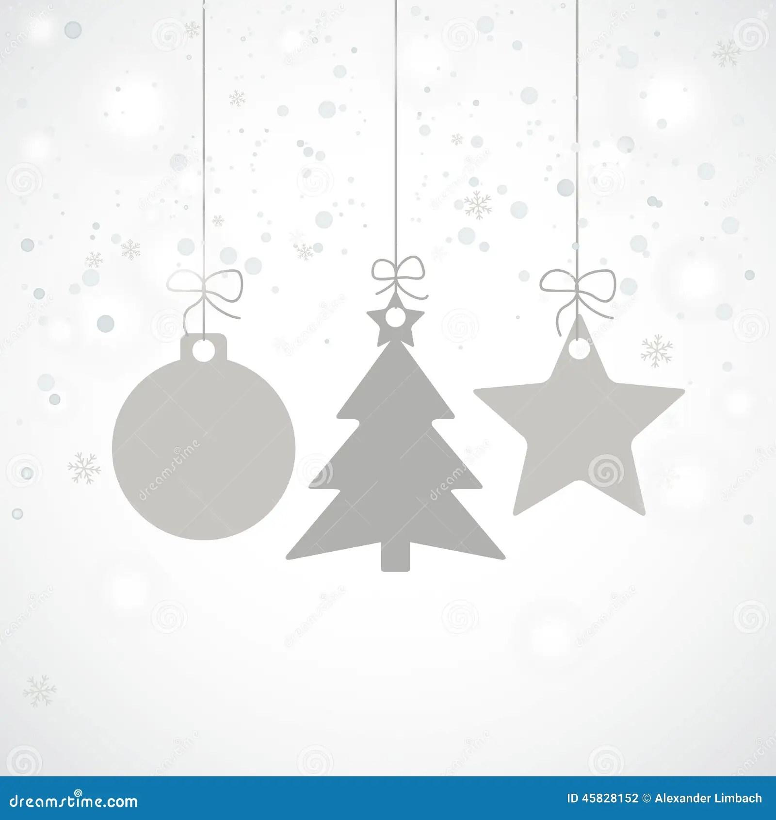 Grey Christmas Card Stars Tree Snowfall Stock Vector