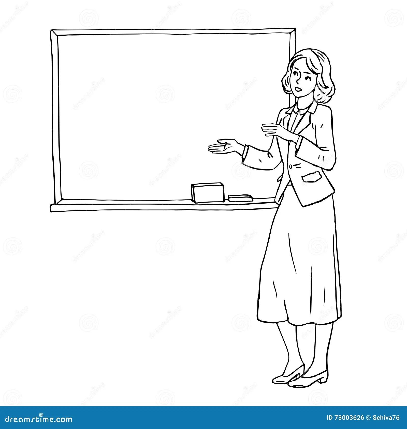 Gribouillez Le Croquis Du Professeur Se Tenant Dans La