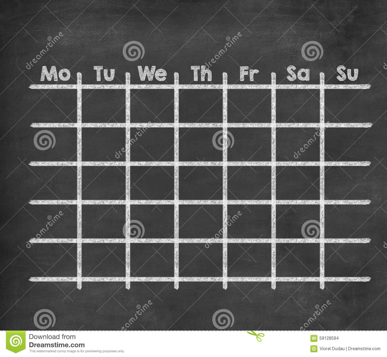 Grid Weekly Calendar For Full Week Stock Illustration Image 59128594