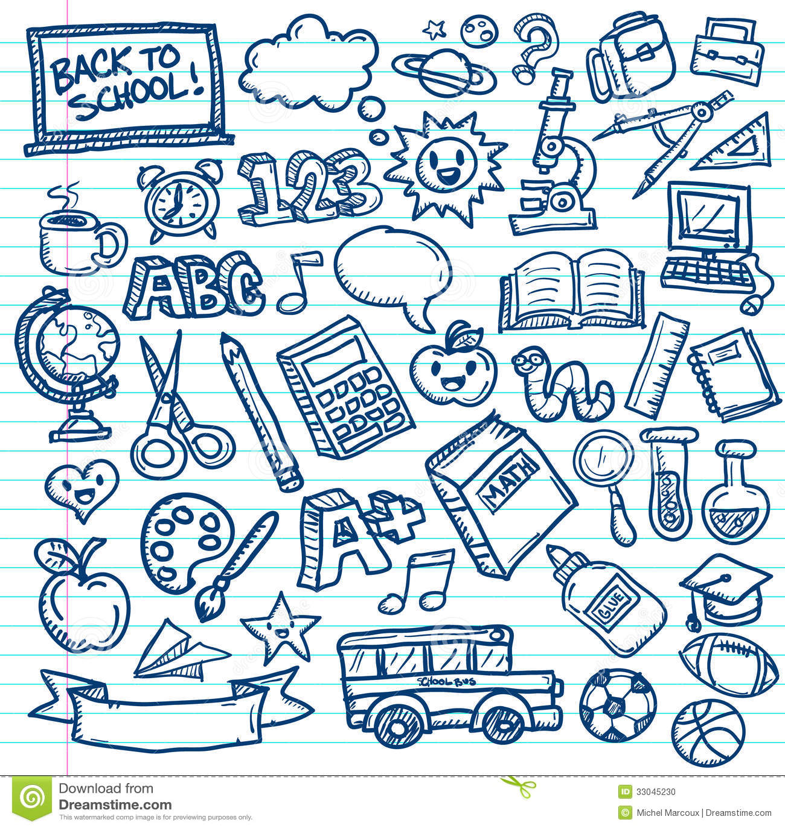Griffonnages De Vecteur D Ecole Illustration De Vecteur