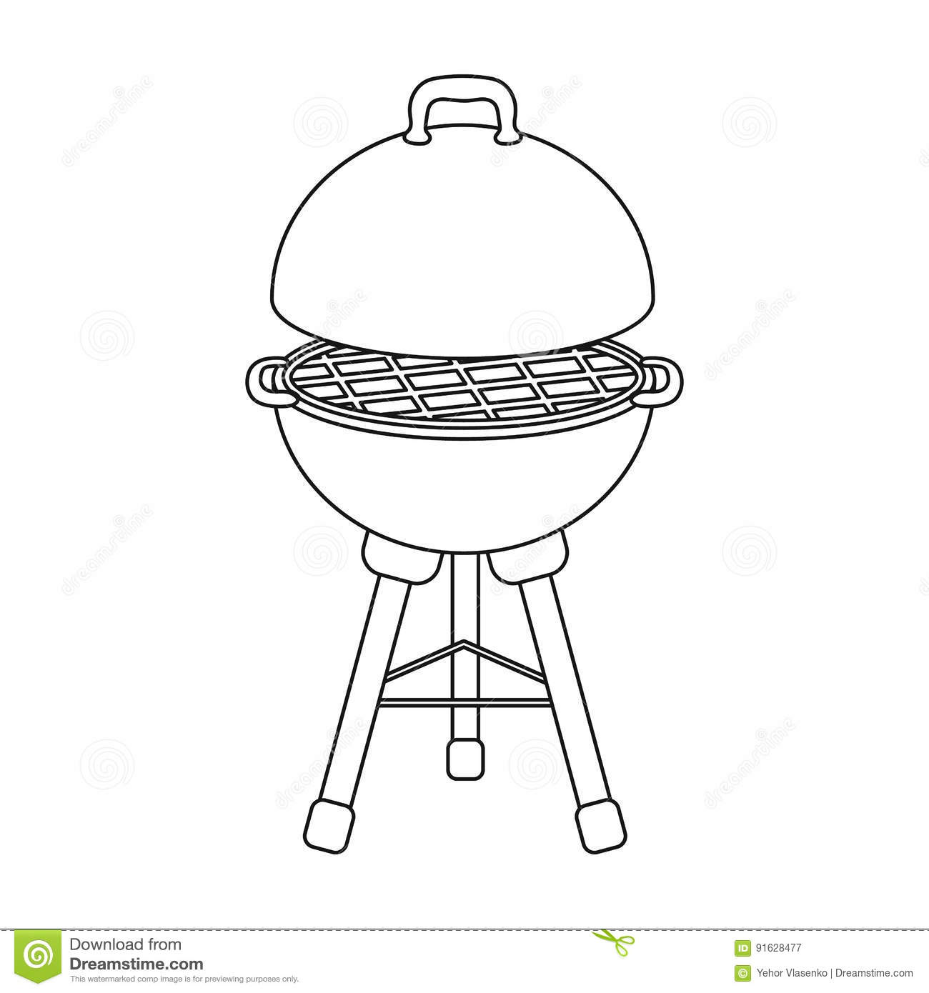Grill For Barbecue Bbq Single Icon In Outline Style Vector