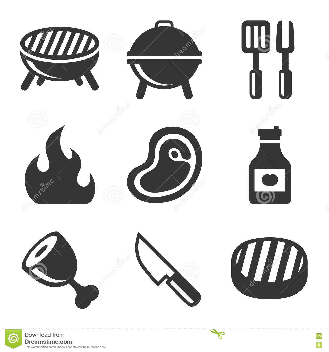 Grill And Barbecue Icons Set Vector Cartoon Vector