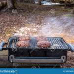 Grilling Burgers On The Charcoal Barbecue Grill On The Woods Stock Photo Image Of Barbeque Rural 140815630